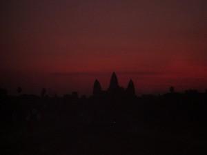 The sun rising over Angkor Wat