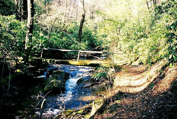 Great Smoky Mountains hiking trail footbridge