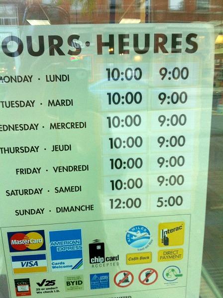 Toronto Liquor Store hours