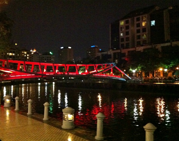 Red bridge Singapore River night cruise