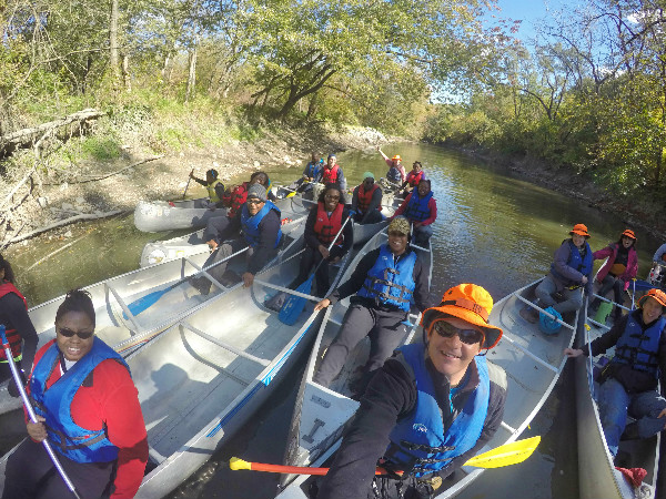 Group canoeing GoPro selfie