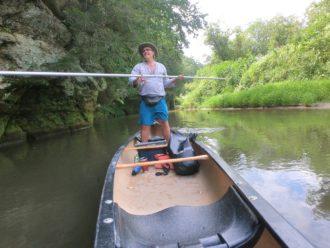 Kickapoo River canoe poling