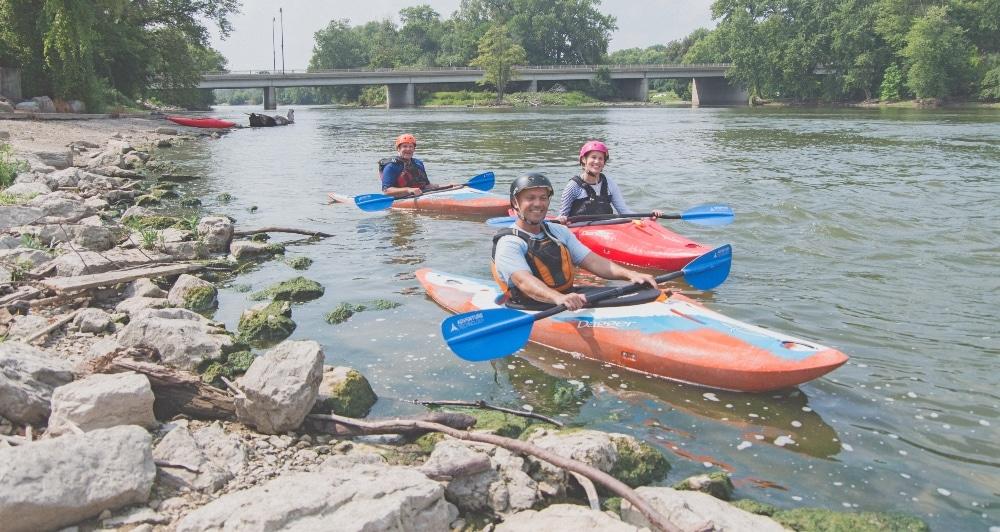 Marge Cline kayaking