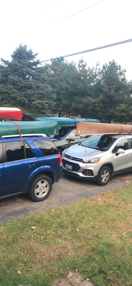 four cars four canoes