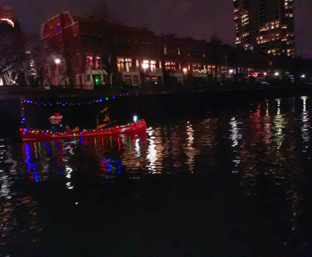 Christmas canoe lights